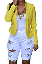 roswear Women's Ripped Denim Destroyed Mid Rise Stretchy Bermuda Shorts Jeans White X-Large