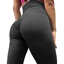SEASUM Women Scrunch Butt Yoga Pants Leggings High Waist Waistband Workout Sport Fitness Gym Tights Push up M,Black,Medium