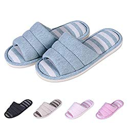 Shevalues Women's Soft Indoor Slippers Open Toe Cotton Memory Foam Slip on Home Shoes House Slippers BL-S Teal
