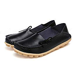 SHIBEVER Women's Leather Loafers Moccasins Wild Driving Casual Flats Oxfords Breathable Shoes Black 8