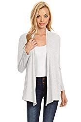 Simlu Womens Open Drape Cardigan Reg and Plus Size Cardigan Sweater Long Sleeves – USA Heather Grey Large