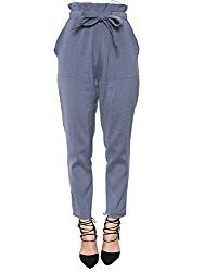 Simplee Apparel Women's Slim Straight Leg Stretch Casual Pants with Pockets Blue,Size 8/M