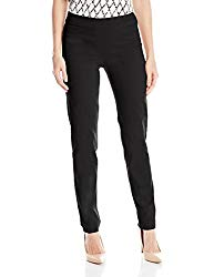 SLIM-SATION Women's Wide Band Pull-on Straight Leg Pant with Tummy Control, Black, 14