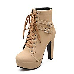 Susanny Women Autumn Round Toe Lace Up Ankle Buckle Chunky High Heel Platform Knight Beige Martin Boots 13.5 B (M) US (CN Size_47)