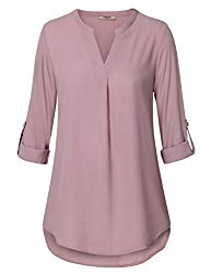 Timeson Blouse Shirts for Women, Ladies V Neck Tops 3/4 Roll up Sleeve High Low Hem Casual Chiffon Flattering Tunic Dark Pink M