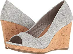 TOMS Women's Stella Wedge Drizzle Grey Lurex Woven Wedge