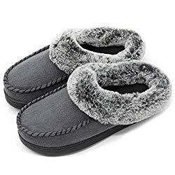 ULTRAIDEAS Women's Comfort Micro Suede Memory Foam Slippers Non Skid House Shoes w/Faux Fur Collar (Medium / 7-8 B(M) US, Dark Gray)