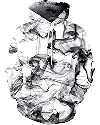 Unisex 3D Novelty Hoodies Galaxy Hoodies Sweatshirt Pockets (l/XL, White Smoke)