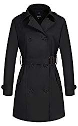 Wantdo Women's Double-Breasted Trench Coat with Belt X-Large Black