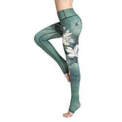 Witkey Printed Long Women Yoga Leggings High Waist Tummy Control Over The Heel Yoga Pants Green