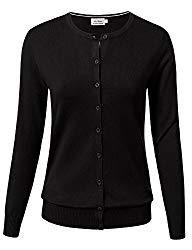 Women Button Down Long Sleeve Crewneck Soft Knit Cardigan Sweater M Black