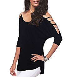 Women's Casual Loose Hollowed Out Shoulder Three Quarter Sleeve Shirts,Black,L