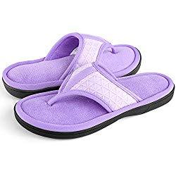 Women's Cozy Memory Foam Plush Gridding Velvet Lining Spa Thong Flip Flops Clog Style House Indoor Slippers(Large / 9-10 B(M) US,Purple)