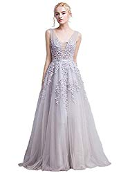 Women's Floral Lace Sleeveless Long Bridesmaid Maxi Dress (Silver,6)