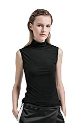 Womens Half Sleeve/Sleeveless Slim Fit Mock Turtleneck Stretch Comfy Basic T Shirt Layer Top