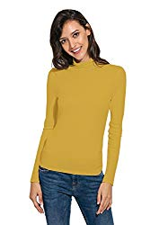 Womens Long Sleeve/Half Sleeve Slim Fit Mock Turtleneck Stretch Comfy Basic T Shirt Layer Top Ginger Yellow