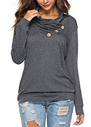 Women's Oversized Tunics Solid Color Long Sleeve Blouses Tops Dark Gray X-Large