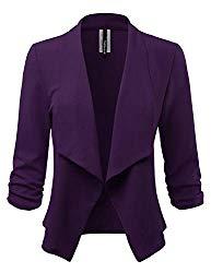 Women's Stretch 3/4 Gathered Sleeve Open Blazer Jacket (Made in USA) (CLBC001) Purple 3X