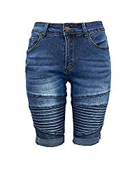 Xudom Womens Middle Rise Elastic Denim Shorts Knee Length with Pockets Curvy Bermuda Jeans Dark Blue L