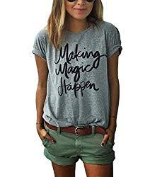 ZAWAPEMIA Womens Letter Printed Pullover Casual Tees T-Shirt Large Gray