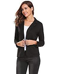 Zeagoo Women Plus Size Open Front Blazer Long Sleeve Cardigan Office Work Jacket Black S
