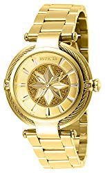 Invicta Women's Captain Marvel Analog Quartz Watch with Stainless Steel Strap, Gold, 20 (Model: 28833