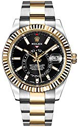 Luxury Rolex Sky-Dweller Black Dial Gold & Steel Mens Watch – Reference: 326933