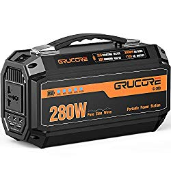 GRUCORE 280W Portable Power Station Generator, 250Wh CPAP Backup Battery, 110V Pure Sinewave AC Outlet, Solar Generator for Outdoors Camping Travel Fishing Hunting Emergency ¡