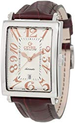 Gevril Avenue of Americas Mens Swiss Automatic Rectangle Brown Leather Strap Watch, (Model: 5005A)