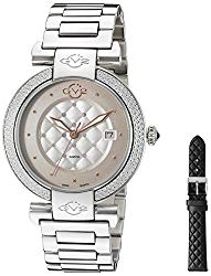 GV2 by Gevril Berletta Womens Diamond Swiss Quartz With Additional Leather Band Stainless Steel Bracelet Watch, (Model: 1500)