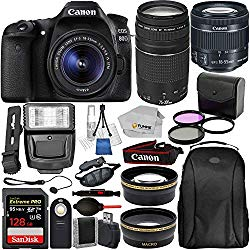 Canon EOS 80D Digital SLR Camera with EF-S 18-55mm is STM and EF 75-300mm Lens (Black) 19PC Professional Bundle Package Deal –SanDisk 64gb SD Card + 50'' Tripod + More