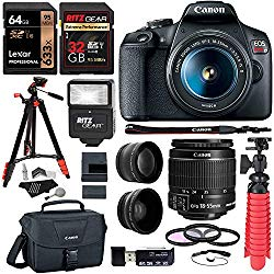 Canon EOS Rebel T7 24MP Camera with EF-S 18-55mm is II Lens, 2 Memory Cards, Slave Flash, 57″ Tripod, Camera Bag, Cleaning Kit, Memory Card Reader/Writer Bundle