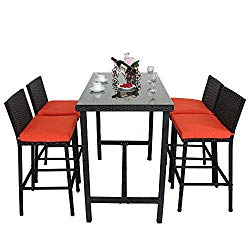 Leaptime Patio Bar Stools Furniture Dining Set Rattan 1 Table 4 Stools PE Wicker Bar Set Stools Table Set Garden Outdoor Set Black Wicker Orange Cushion