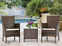 Solaura Outdoor 3-Piece Furniture Brown Wicker Bistro Set Conversation Chairs & Glass-top Coffee Table Set with Light Brown Cushions