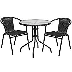Flash Furniture TLH-087RD-037BK2-GG Tlh-087Rd-037Bk2-Gg Round Glass Metal Table With  Rattan Edging And 2  Rattan Stack Chairs, 28″, Black