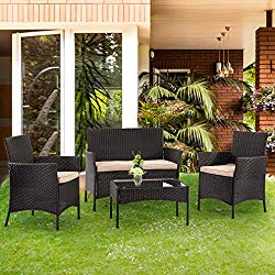 Patio Furniture Set 4 Piece Outdoor Wicker Sofas Rattan Chair Wicker Conversation Set Coffee Table Bistro Sets for Pool Backyard Lawn