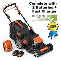 """Yard Force Lithium-Ion 22"""" Self-Propelled 3-in-1 Mower with Torque-Sense Control – 2 Batteries & Fast Charger included"""
