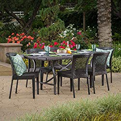 Christopher Knight Home Chatham Outdoor 7 Piece Multibrown Wicker Dining Set