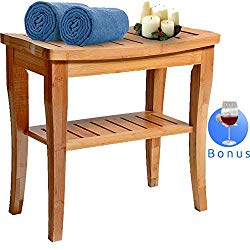 Bamboo Shower Bench Seat Wooden Spa Bath Deluxe Organizer Stool With Storage Shelf For Seating Chair Perfect For Indoor Or Outdoor – Plus Free Value Gift Including -One Year Warranty. By House Ur Home