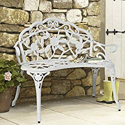 Best Choice Products Floral Rose Accented Metal Garden Patio Bench w/ Antique Finish – White