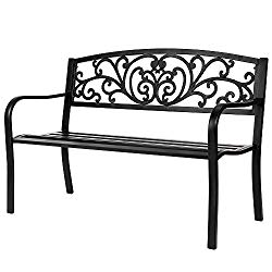 VINGLI 50″ Patio Park Garden Bench Outdoor Metal Benches,Cast Iron Steel Frame Chair Front Porch Path Yard Lawn Decor Deck Furniture for 2-3 Person Seat