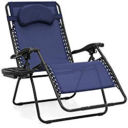 Best Choice Products Oversized Zero Gravity Outdoor Reclining Lounge Patio Chair w/Cup Holder – Navy