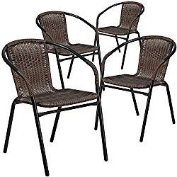 Flash Furniture 4 Pk. Dark Brown Rattan Indoor-Outdoor Restaurant Stack Chair