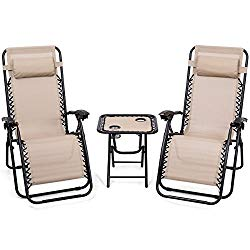 Giantex 3 PCS Zero Gravity Chair Patio Chaise Lounge Chairs Outdoor Yard Pool Recliner Folding Lounge Table Chair Set (Beige)