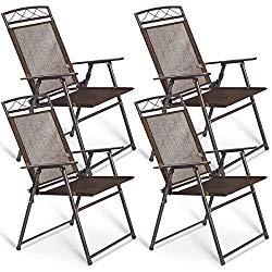 Giantex Set of 4 Patio Folding Sling Chairs Steel Camping Deck Garden Pool