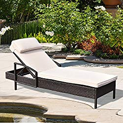 Tangkula Patio Reclining Chaise Lounge, Outdoor Beach Pool Yard Porch Wicker Rattan Chaise, Adjustable Backrest Lounger Chair (Beige)