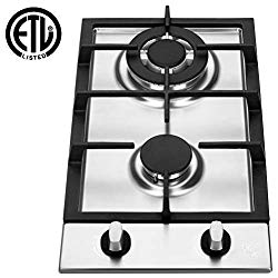 K&H 2 Burner 12″ LPG/Propane Gas Stainless Steel Cooktop 2-SSW-LPG