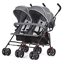 Dream On Me Volgo Twin Umbrella Stroller, Dark/Light Grey
