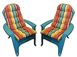 Set of 2 Outdoor Tufted Adirondack Chair Cushion – Bright Colorful Stripe