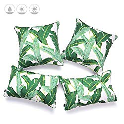 Hofdeco Tropical Indoor Outdoor Indoor Outdoor Pillow Cover ONLY, Water Resistant for Patio Lounge Sofa, Green Banana Leaf , 18″x18″ 12″x20″, Set of 4